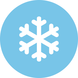 Snowflake in a light blue circle