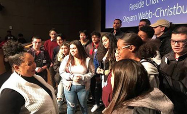 Students meet with civil rights advocate at Microsoft.