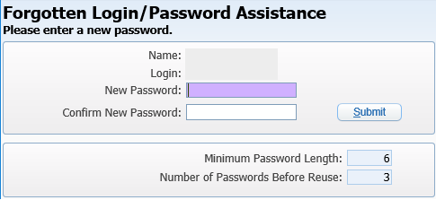 Screenshot of Skyward Forgotten Login/Password Assistance window