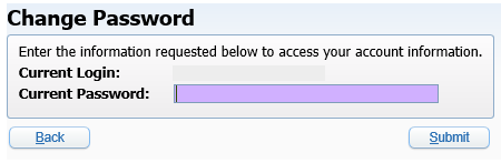 Screenshot of Skyward Change Password window