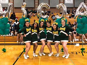 Meeker Cheer poses with WSCCA balloons.