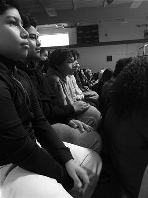 Students watching the assembly