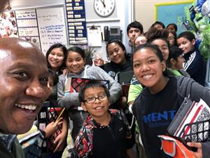 Dr. Watts selfie with students