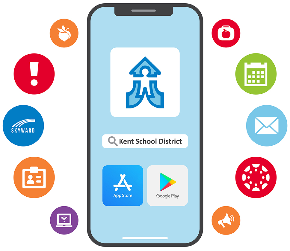 Illustration of phone and mobile app icons