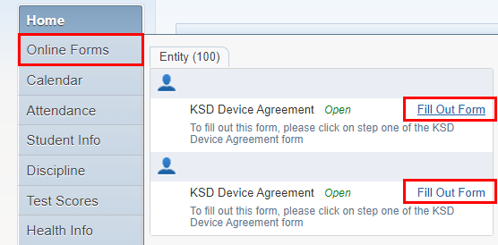 Screenshot of the Skyward Online Forms area where families can complete the form for multiple students