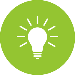 Lightbulb in a green circle.