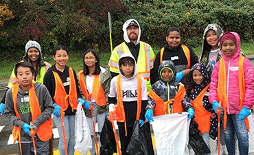 Volunteers at the East Hill Campus Cleanup event