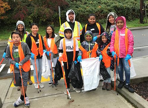 Volunteers at the first annual East Hill Campus Cleanup event