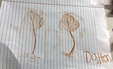 Dalton's artwork of leaves