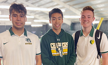 Tennis players Brandon Bourgeois, Mitch Escandon, and Timothy Tran.