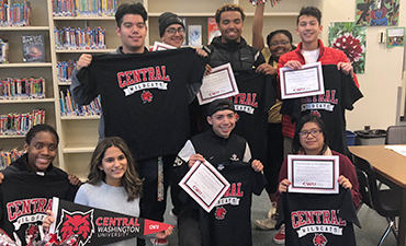 Kentwood students with CWU gear.