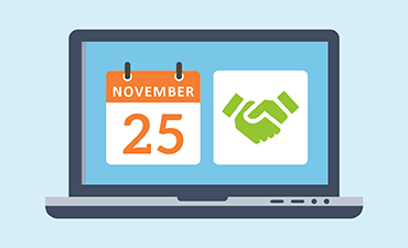 Laptop with a calendar open to November 25
