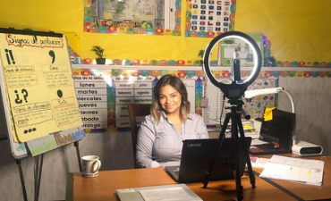 Teacher in dual language classroom