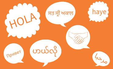 Hello in multiple languages inside text bubbles on orange background.