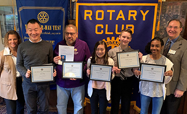 Kent Rotary with their KSD Students of the Month