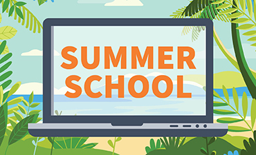 Summer school in a laptop over a tropical background