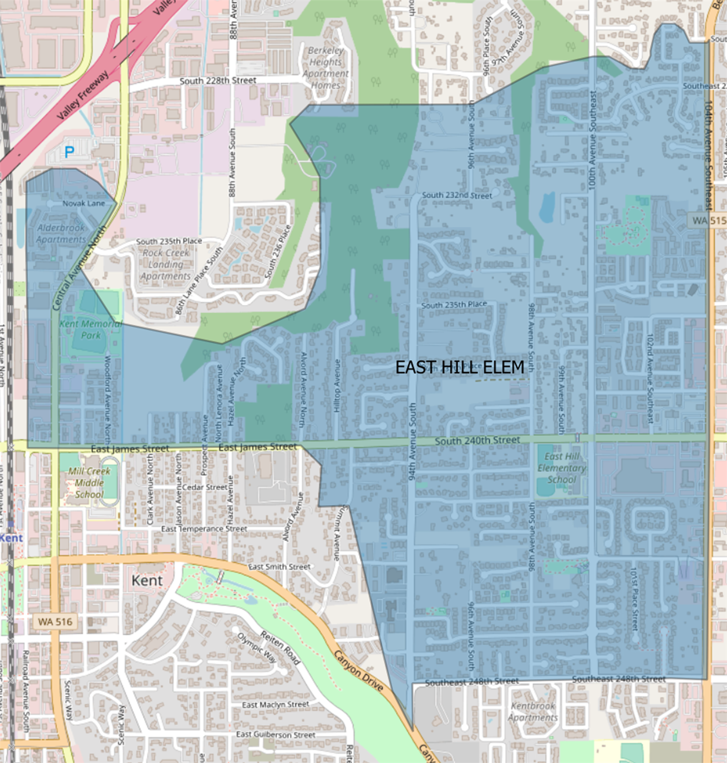 Current East Hill Elementary boundary map