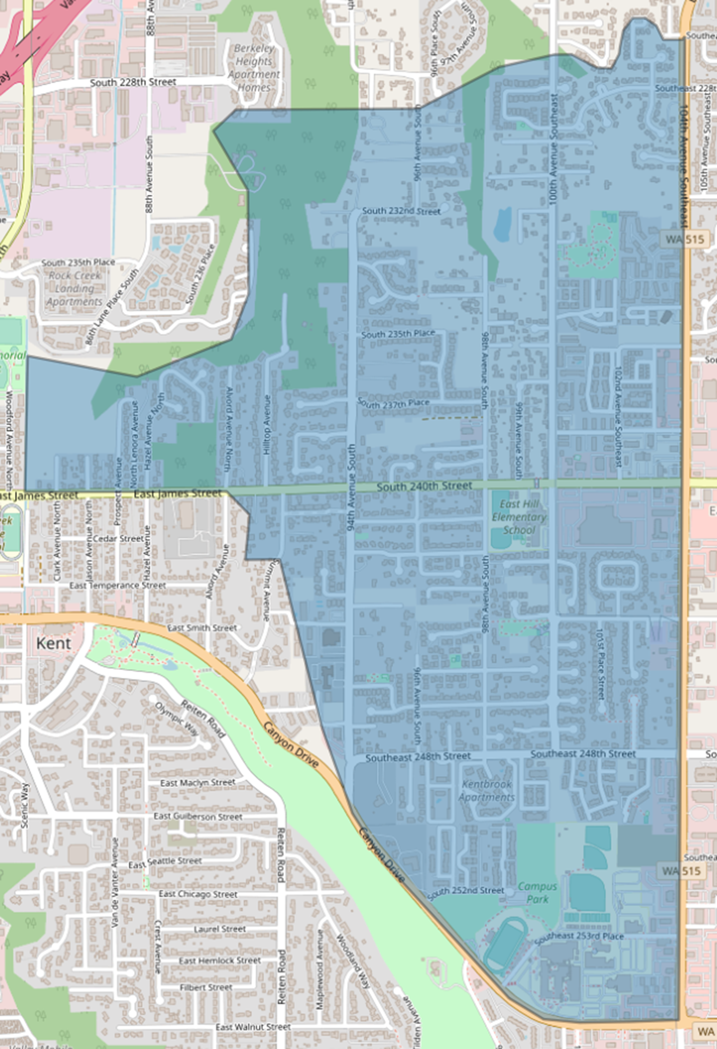 Final proposed East Hill Elementary boundary map