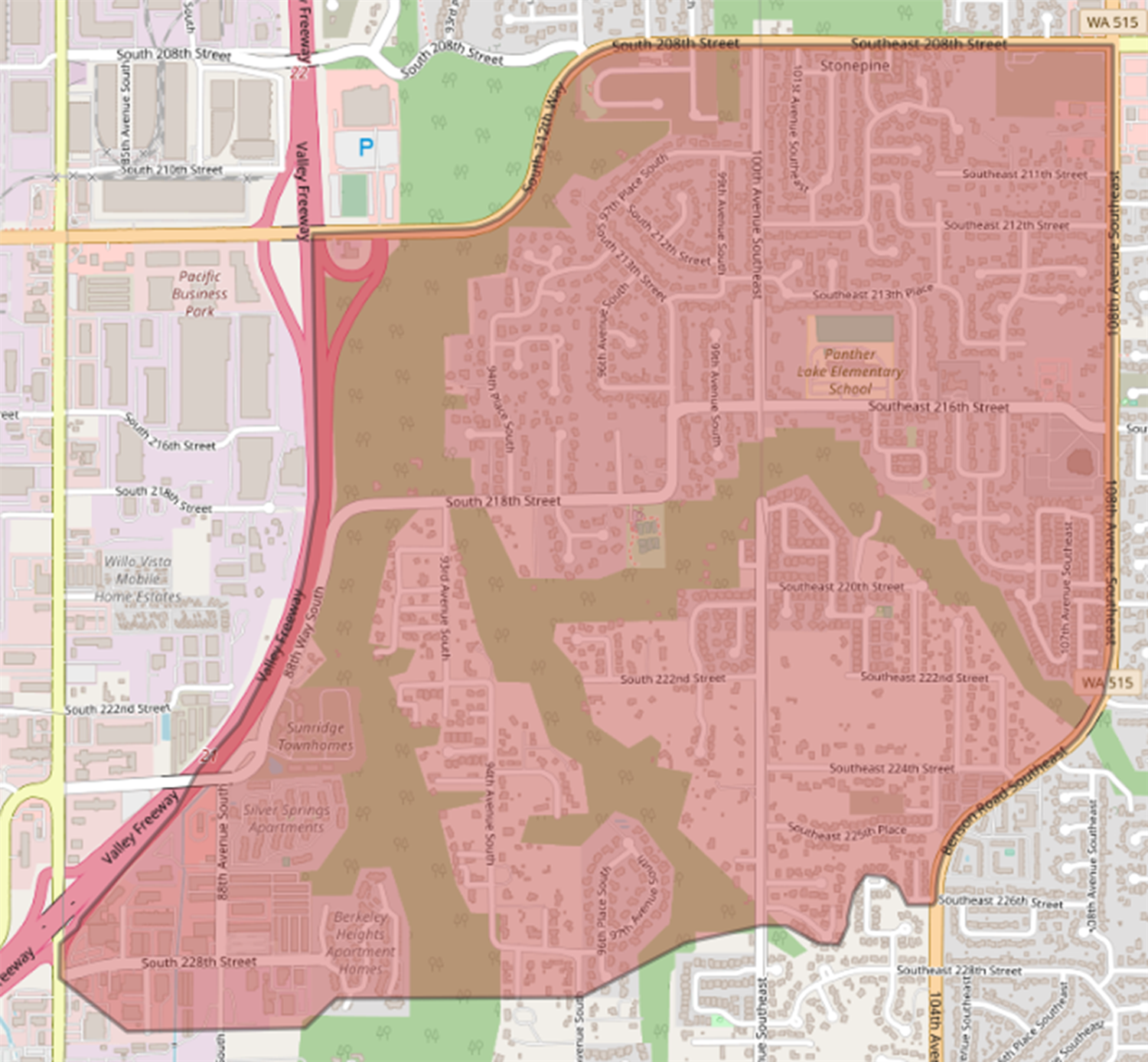Proposed new Panther Lake Elementary boundary map