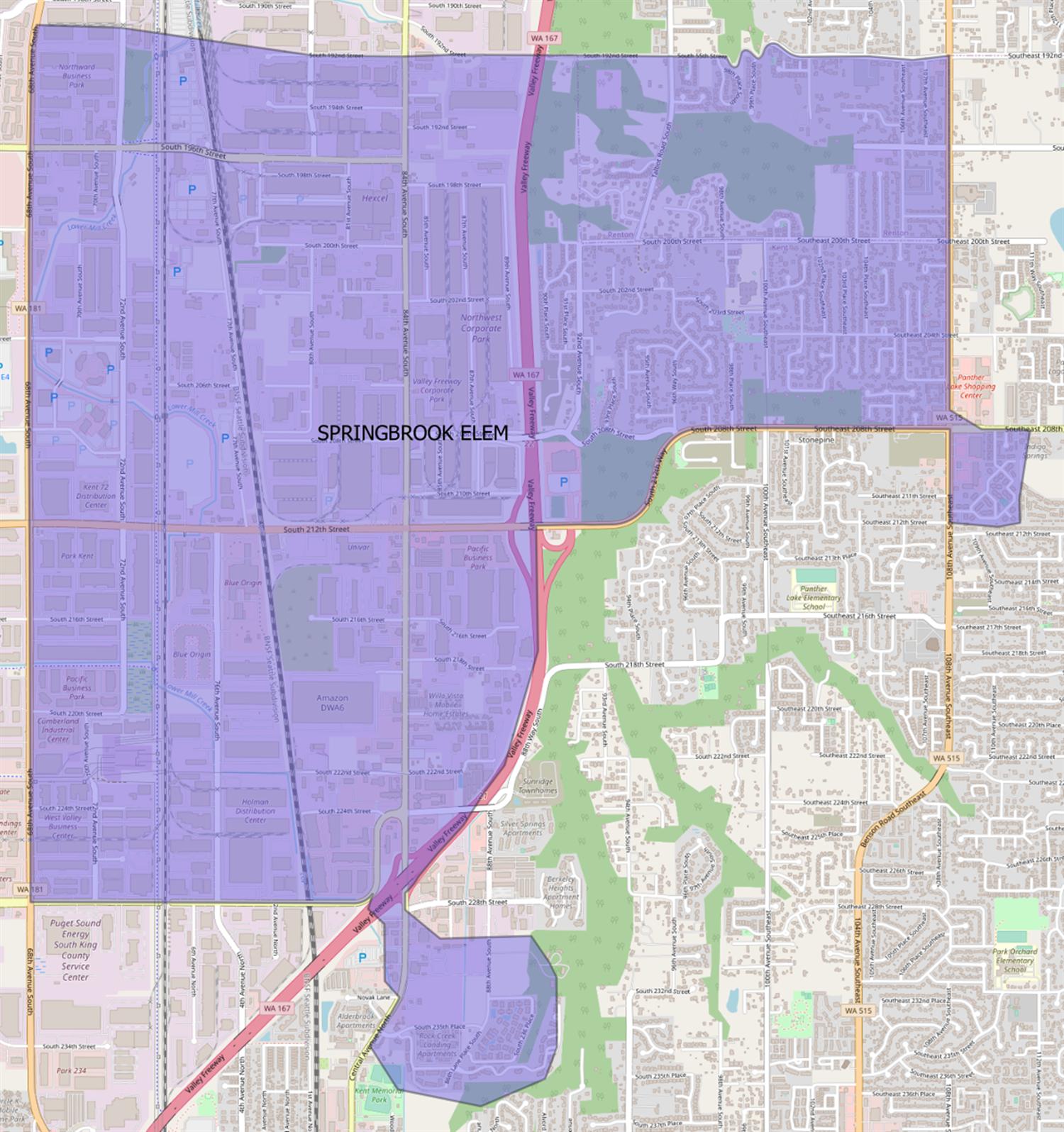 Current Springbrook Elementary boundary map
