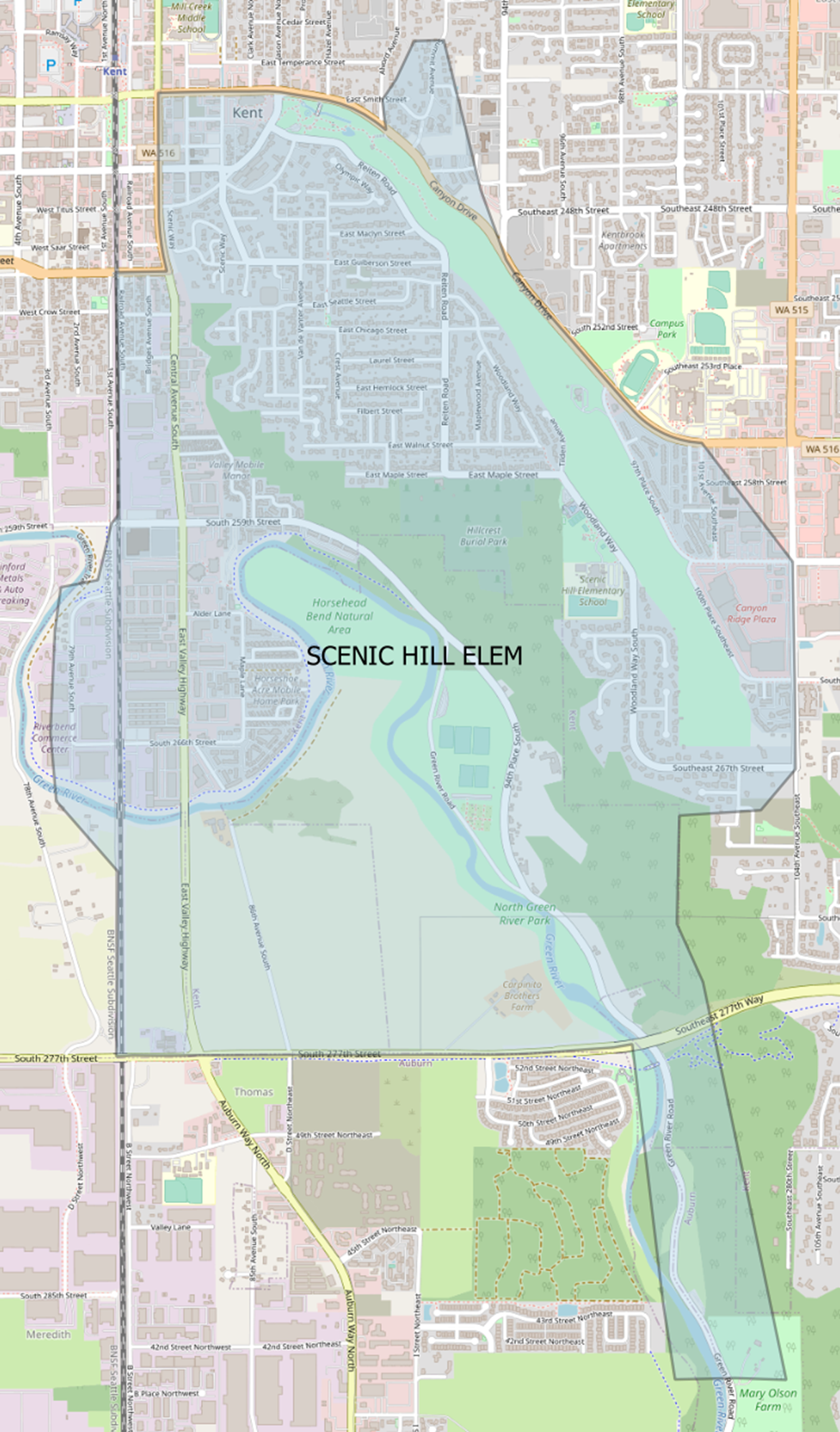 Current Scenic Hill Elementary boundary map