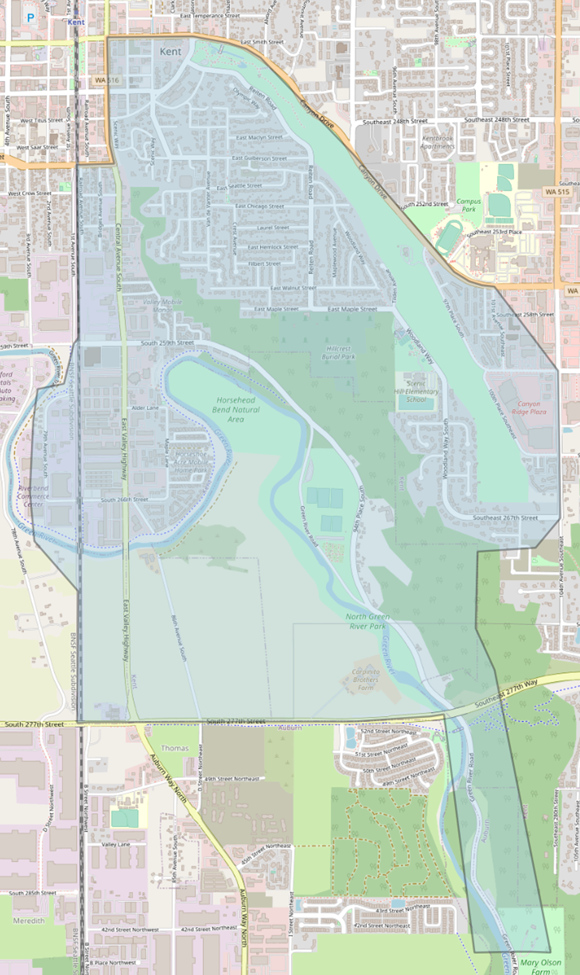 Proposed  new Scenic Hill Elementary boundary map