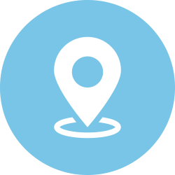 Location icon in a light blue circle
