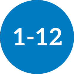 1-12 in a dark blue circle