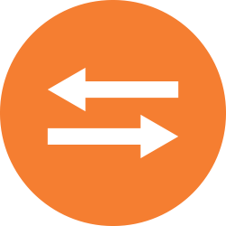 Two arrows pointing opposite directions in an orange cirlce