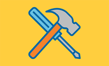 Illustration of a hammer and a screwdriver